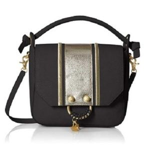 Foley and Corinna Black and Gold Shoulder Bag